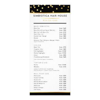 毛の値段表のモダンで魅力的な水玉模様の金ゴールドの黒 ラックカード