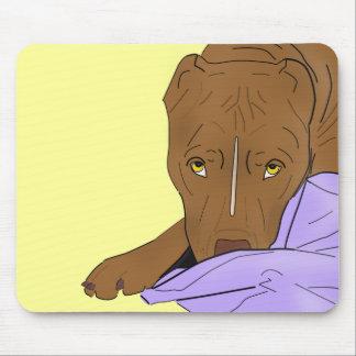 毛布のかわいいピット・ブル-線画のポートレート マウスパッド