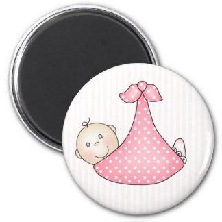 毛布のピンクの女の子 マグネット