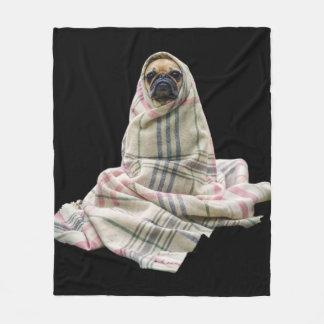 毛布の愛らしいパグ フリースブランケット