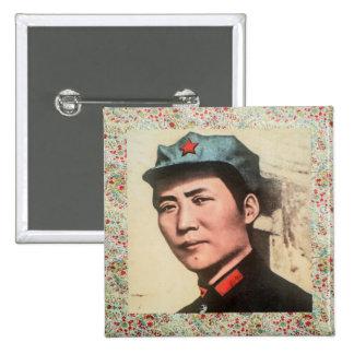 毛沢東大将ボタンw/floralのプリント 5.1cm 正方形バッジ