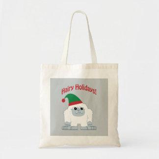 毛深い休日! クリスマスの雪男 トートバッグ