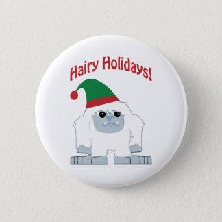 毛深い休日! クリスマスの雪男 5.7CM 丸型バッジ