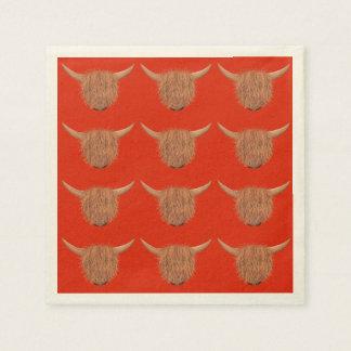 毛深い高地牛ナプキン(赤い) スタンダードカクテルナプキン