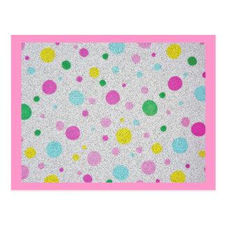 毛皮で覆われたパステル調の水玉模様の泡 ポストカード