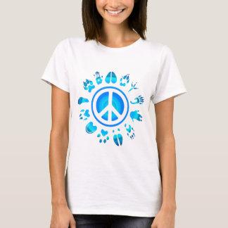 毛皮で覆われたpeace4 tシャツ