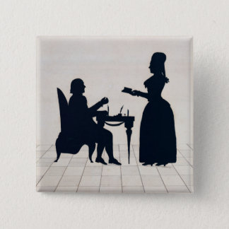 氏および夫人のロランドシルエット 5.1CM 正方形バッジ