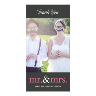 氏および夫人結婚式のサンキューカード-灰色 カード