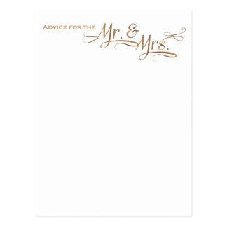 氏および夫人金ゴールドのフォントのための結婚式のアドバイス ポストカード