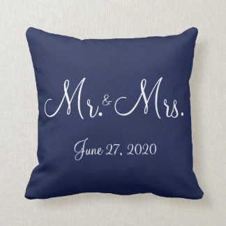 氏および夫人Blue Nautical Wedding Pillows クッション