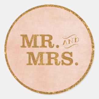 氏および夫人Goldおよび珊瑚の結婚式のステッカー ラウンドシール