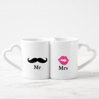 氏および夫人Mustacheおよび口紅 ペアカップ