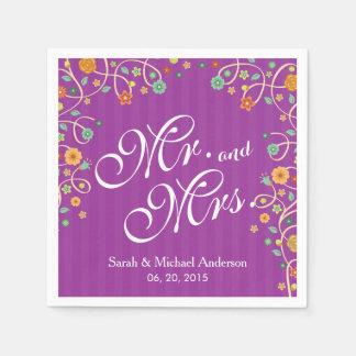氏およびStylish Purple Swirl Floral夫人の結婚式 スタンダードカクテルナプキン