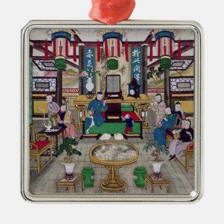氏のKong、北京商人家の部屋 シルバーカラー正方形オーナメント
