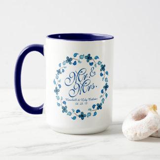 氏及び夫人Blue Floral Wedding Comboのマグ マグカップ