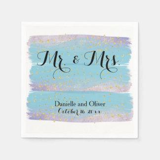 氏及び夫人Blue Watercolorのカクテルパーティーのナプキン スタンダードカクテルナプキン