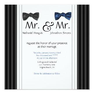氏及び氏ちょうネクタイ及びPinのストライプのな結婚式の招待 13.3 スクエアインビテーションカード