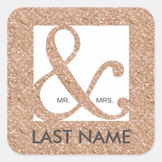 氏及びAmpersand Rose夫人の金ゴールドホイルのステッカー スクエアシール