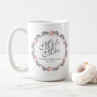 氏及びElegant Floral Wedding Classic夫人のマグ コーヒーマグカップ