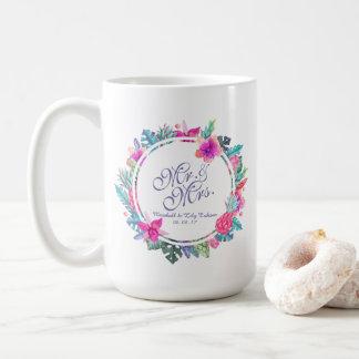 氏及びFloral Tropical Wedding Classic夫人のマグ コーヒーマグカップ