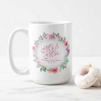 氏及びFloral Watercolor Wedding Classic夫人のマグ コーヒーマグカップ