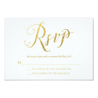 氏及びGold Elegant Wedding RSVP Response夫人カード 8.9 X 12.7 インビテーションカード