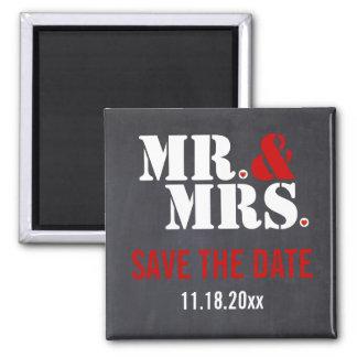 氏及びModern夫人のタイポグラフィの結婚式の保存日付 マグネット