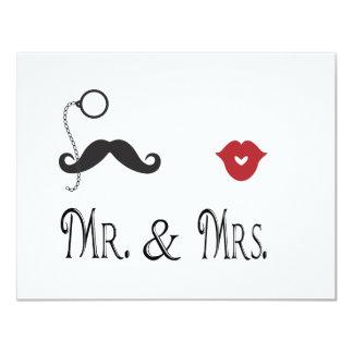 氏及びMustache夫人及び唇の結婚式招待状 カード