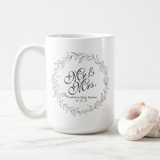 氏及びSimple Floral Wedding Classic夫人のマグ コーヒーマグカップ