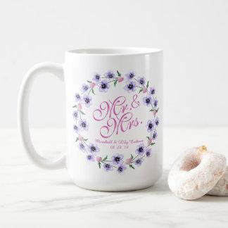 氏及びWatercolor Floral Wedding Classic夫人のマグ コーヒーマグカップ