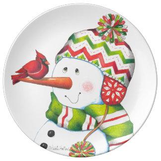 氏Snowmanおよび基本的なプレート 磁器プレート