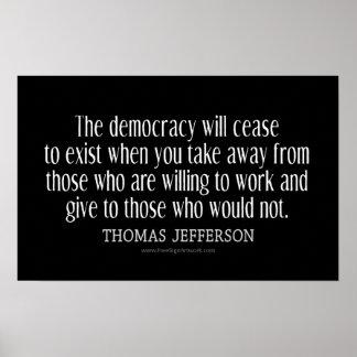 民主主義のジェファーソンの引用文 ポスター
