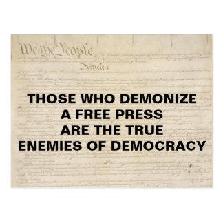 民主主義の米国憲法修正第一項の出版物の敵を悪魔化して下さい ポストカード
