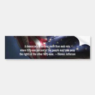 民主主義引用文トマスジェファーソン+旗 バンパーステッカー
