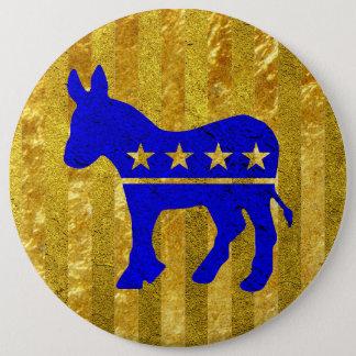 民主党員のろばの青の金ゴールド 缶バッジ
