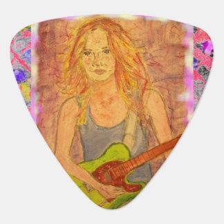 民俗石の女の子の滴り ギターピック