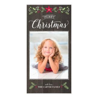 民俗花のクリスマスの写真カード カード