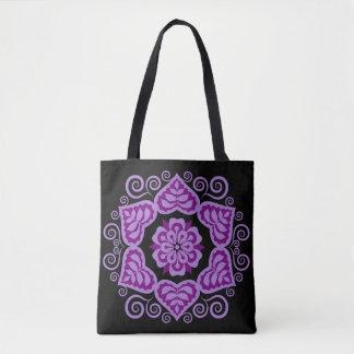 民俗花柄のファッションのトート-紫色 トートバッグ
