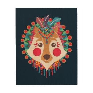 民族のオオカミ ウッドウォールアート