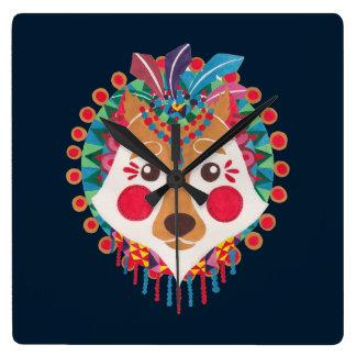 民族のオオカミ スクエア壁時計