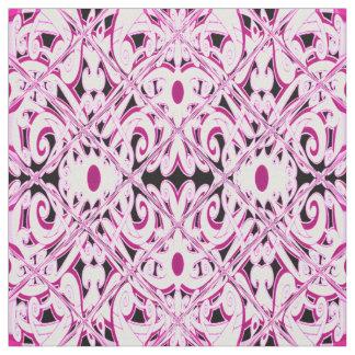 民族のピンクの花柄 ファブリック
