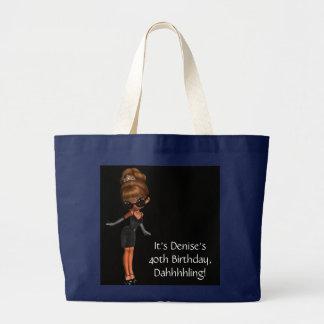 民族のプリンセスの花型女性歌手の黒のトートバック ラージトートバッグ