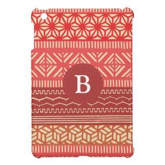 民族の種族の幾何学的でガーリーな(赤い)モノグラム iPad MINI カバー