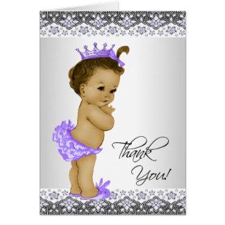 民族の紫色のプリンセスのベビーシャワーは感謝していしています カード