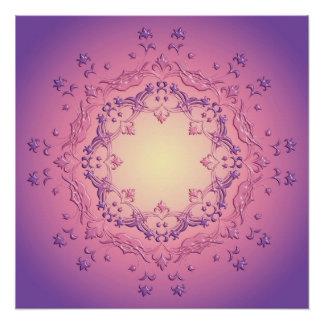 民族の花の勾配の曼荼羅 ポスター