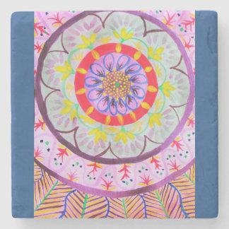 民族のvibeの鮮やかな水彩画の曼荼羅のデザイン ストーンコースター