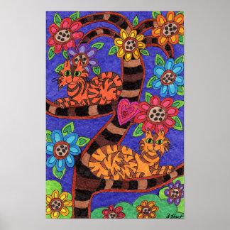民芸たそがれ猫の生命の樹 ポスター
