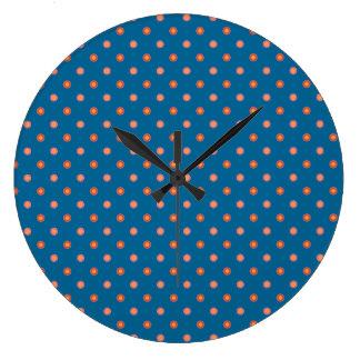 民芸のコレクションの水玉模様の円形の柱時計 ラージ壁時計