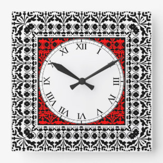 民芸のスイスのシャレーScherenschitt Papercut スクエア壁時計
