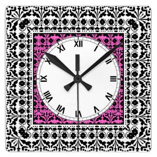 民芸のスタイルのスイス人のPapercutパターンヴィンテージ スクエア壁時計
